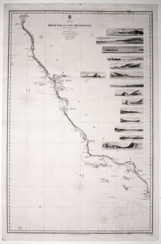 Two sheets: America West Cape Mendocino to Vancouver Id. from Cape Flattery southward... [and] America West Diego Bay to Cape Mendocino. BRITISH ADMIRALTY/ J., C. WALKER-engravers.