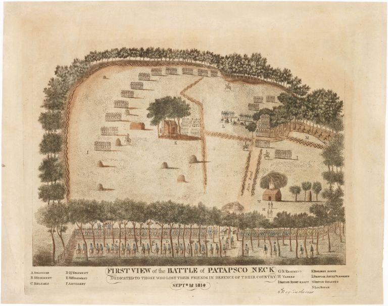 FIRST VIEW of the BATTLE of PATAPSCO NECK [:] DEDICATED TO THOSE WHO LOST THEIR FRIENDS IN DEFENCE OF THEIR COUNTRY [:] SEPTR 12 1814. Andrew DULUC.