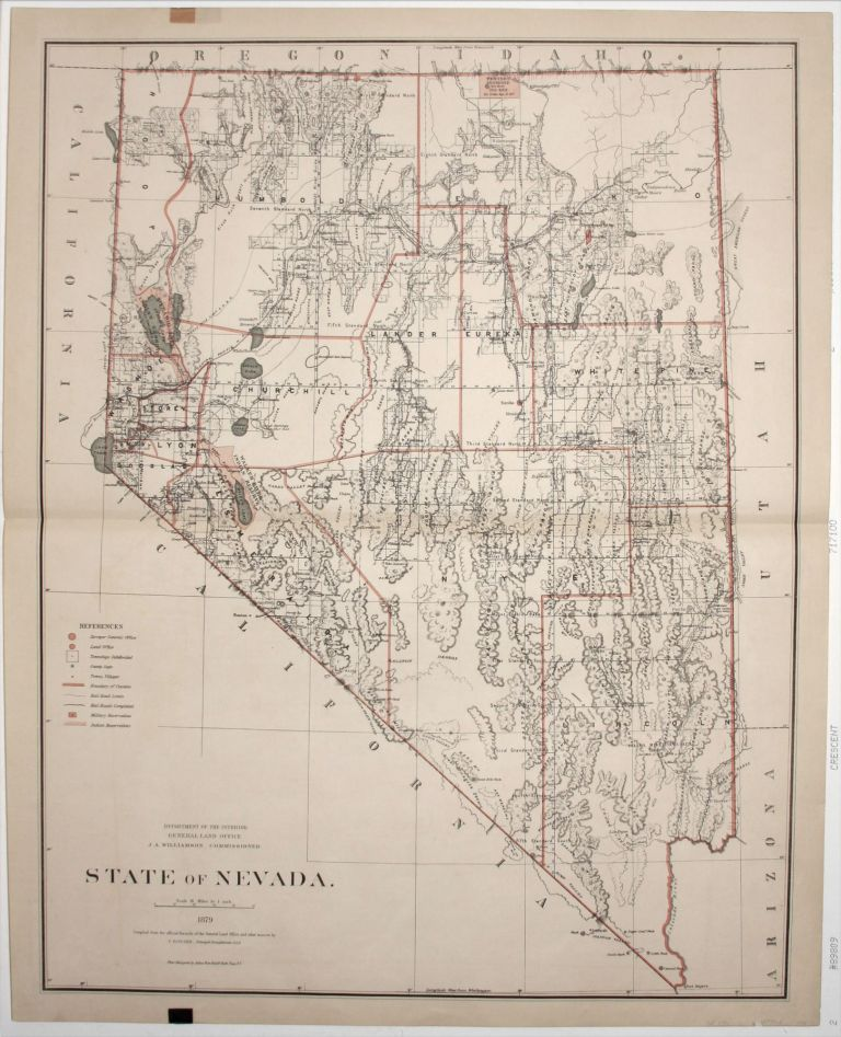 State of Nevada. Published by the Department of the Interior, General Land Office. J. A. Williamson, Commissioner. C. ROESER.