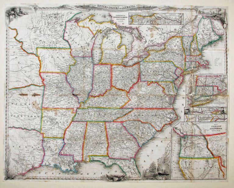 A New Map For Travelers Through The United States Of America Showing The Railroads, Canals & Stage Roads. J. Calvin SMITH.