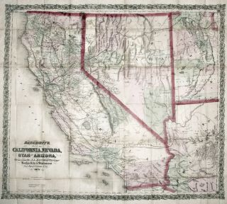 Bancroft's Map of California, Nevada, Utah and Arizona, A. L. BANCROFT, William H. CO./ KNIGHT