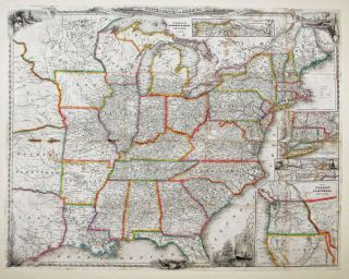 A New Map For Travelers Through The United States Of America Showing The Railroads, Canals &...